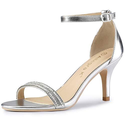 Allegra K Women's Stiletto Heels Rhinestone Ankle Strap Open Toe Silver Sandals - 8 M US