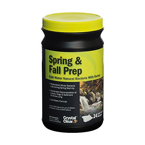 Crystal Clear Spring & Fall Prep - Cold Water Natural Bacteria with Barley - 24 Packets Treats Up to 24,000 Gallons
