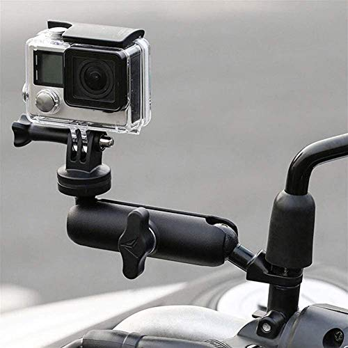 360° Motorcycle Rearview Mirror Stand for GoPro Camera Clamp Mount Holder Canon Hero9/8/7/6/5/4/3+ Action Cameras Accessory (Fits Motorcycle Moto Bike Bicycle Rearview Mirror)