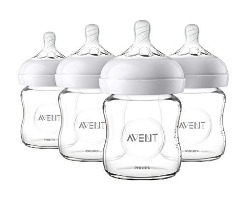 Philips Avent Natural Glass Baby Bottle, Clear, 4oz, 4pk, SCF701/47