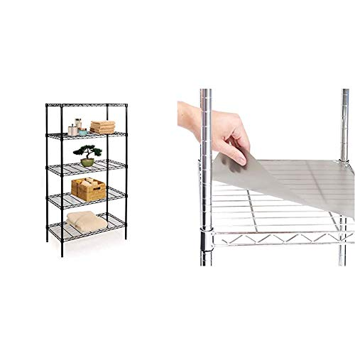 Seville Classics 5-Tier Black Epoxy Steel Wire Shelving, 30' W x 14' D x 60' H & 2 Individual Smoke Gray Shelf Liners, Designed to Fit 30' x 14' Wire Shelves, Grey