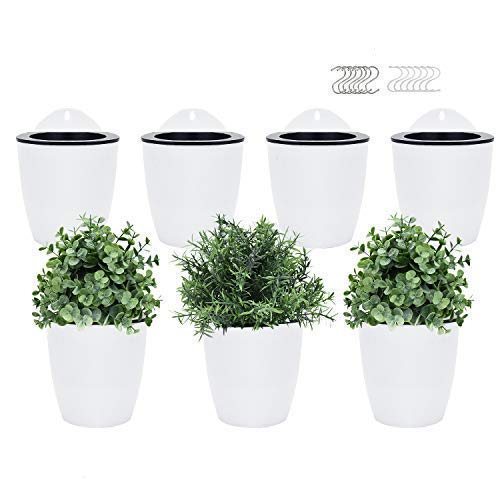 Pomeat Self Watering Hanging Planters, 7 PackLazy Flower Pot Wall Plant Holder for Succulents Plants FlowersIndoor Outdoorwith 7 Hooks (White)