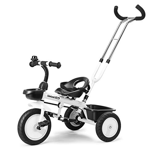 Welspo 3 in-1 Kids Tricycles, Easy Steer Toddler Tricycle for 1-5 Years Old Kids Trike with Safety Seat, Storage Basket, Foot Pedals (Black&White)