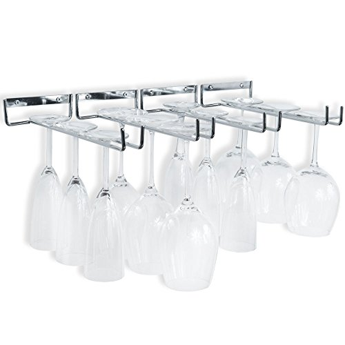 Wallniture Chiraz Wine Glasses Holder Wall Mounted Kitchen Organization and Storage Set of 4, Chrome Finish Stemware Rack