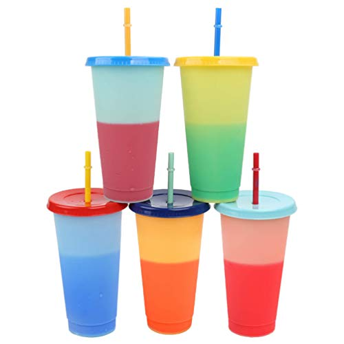 Color Changing Cups With Lids and Straws for Adults, Cold Drink Plastic Tumblers with Lids and Straws Bulk, 5 Colors 24oz.