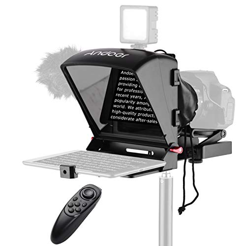 Andoer A1 Universal Portable Teleprompter Prompter for Smartphone/Tablet/DSLR Camera Video Recording Live Streaming Interview Presentation Stage Speech with Remote Control