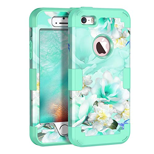 Casetego Compatible iPhone 5 5S SE Case,Floral Three Layer Heavy Duty Hybrid Sturdy Shockproof Protective Cover Case for Apple iPhone 5 5S SE Case,Green/White