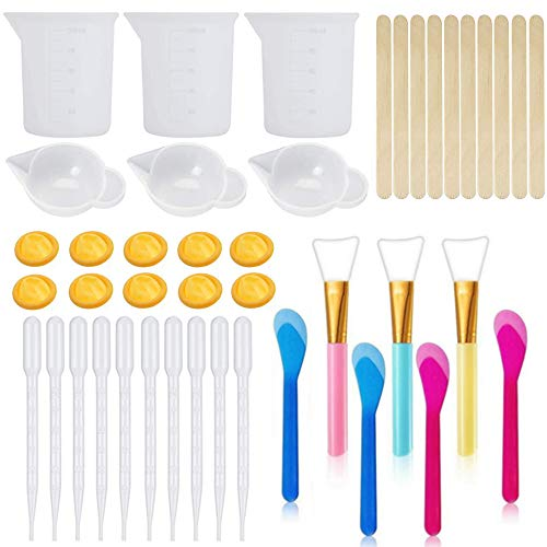 43PCS Resin Mixing Tool Kit - Silicone Measuring Cups for Epoxy Resin,Silicone Mixing Cups,Silicone Brushes, Pipettes,Stir Sticks,Finger Cots and Mixing Spoons for Resin Casting DIY Jewelry Making