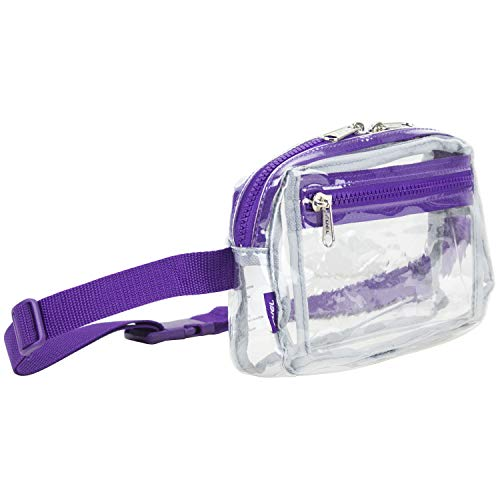 Fuel Fashion Clear Fanny Pack, Stadium Security Approved Belt Bag with Front Easy Access Pocket (Expandability 27' to 48'), Clear/Purple