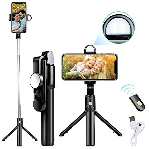 Selfie Stick Tripod Update Bluetooth Selfie Stick with Detachable Wireless Remote/Build-in Light/HD Mirror, Compatible with iPhone and Android Smartphone
