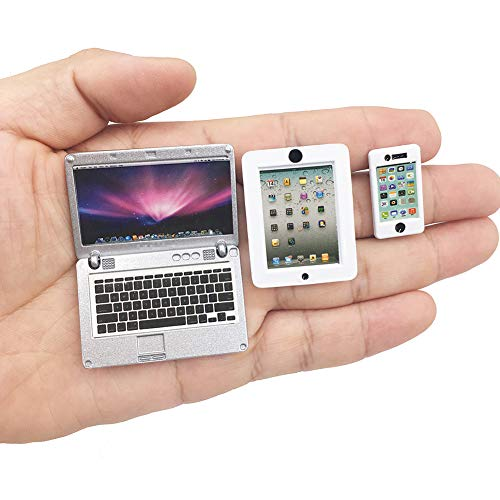 Vawuz 3 Pack Dollhouse Mini Laptop Tablet and Smart Phone Scene Computer Simulation Accessories for Doll 1/6 1/12 Miniatures Silver