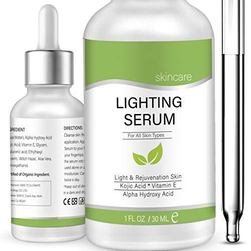 Lightening Serum with Kojic Acid, TOPNaturePlus, Dark Spot Corrector Remover for Face, Natural Skin Lightener Whitening Serum Lightens Private - 1 FL.OZ