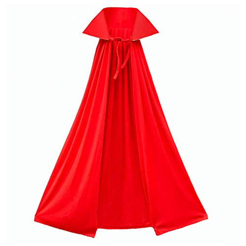 40' Red Cape with Stand-Up Collar - Halloween Costume Accessory