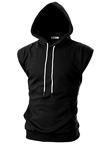 OHOO Mens Slim Fit Sleeveless Lightweight Workout Athletic Muscle Tank Tops with Hoodie /DCF014-BLACK-M