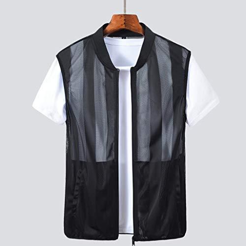 YULAN Vest Summer Ultra-Thin Men's Vest Breathable Waistcoat Vest Men's Thin Vest Wear Light-Weight Breathable Skin Clothing Vest T-Shirt (Color : Black, Size : XL)