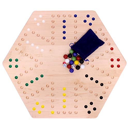 AmishToyBox.com Large Wooden Aggravation Marble Board Game Set, 24' Wide Double-Sided Maple-Wood Board