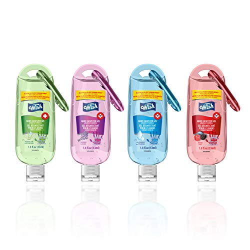 Wish Advanced Hand Sanitizer 1.8 oz with key clip Assorted Scents (4 Pack) Clean Hands saves Lives travel size under 3 oz
