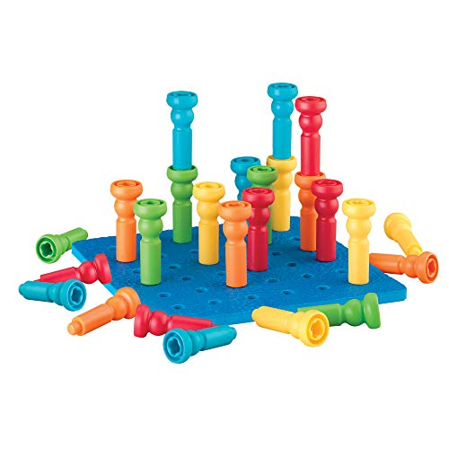 Lauri Tall-Stackers - Pegs and Pegboard Set Multi, 26 Pieces