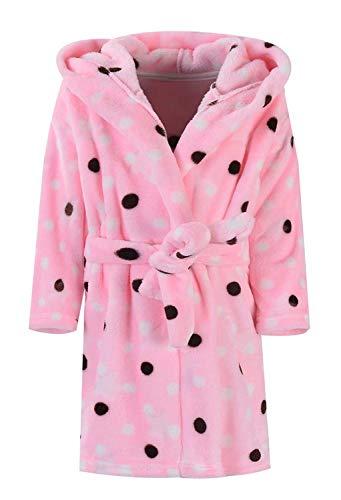 Boys & Girls Bathrobes,Plush Soft Flannel Bathrobes Hooded Sleepwear for Kids Color 11 4T