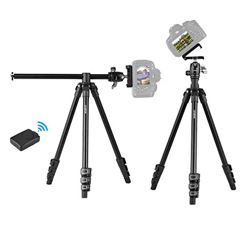 Andoer Camera Tripod Horizontal Mount Professional Travel Tripod with 360 Degree Panorama Ball Head Phone Holder Remote Control for DSLR Cameras Smartphones Compatible with Canon Nikon Sony