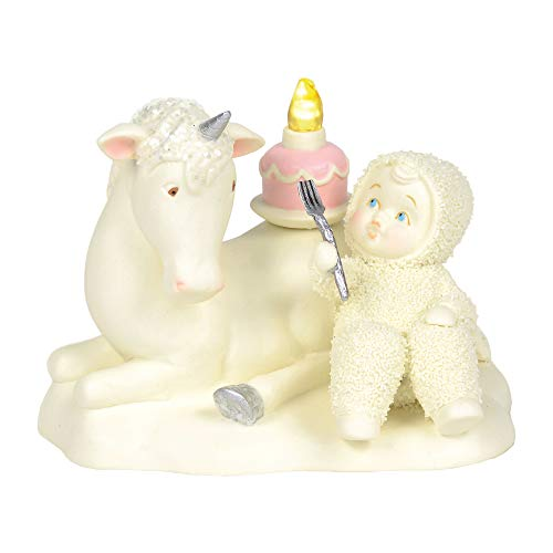 "Department 56 Snowbabies ""Happy As A Unicorn Eating Cake"" Porcelain, 4.5"" Figurine, 4.5 Inches, Multicolor"