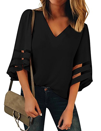 LookbookStore Women V Neck Tops Black Blouse Shirts for Women Casual Dressy Work Tops 3/4 Bell Sleeve Mesh Panel Blouse Loose Business Work Blouse Size Small