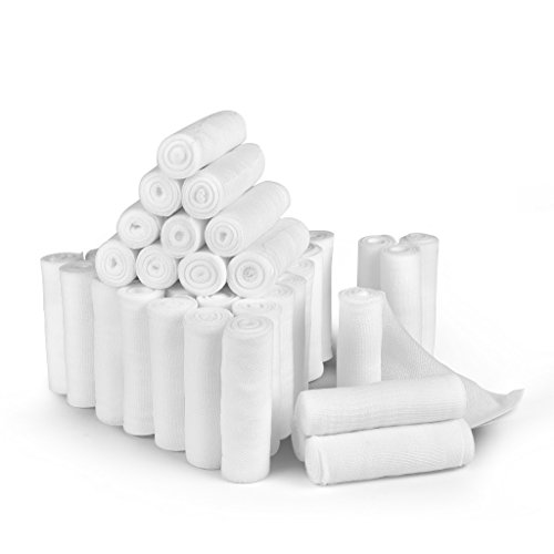 D&H Medical 24 Bulk Pack Gauze Stretch Bandage Roll, 4 Inch X 4 Yards, Used for Wound Care, Easy to Use Cotton Ply Rolled Hand Wrap Dressing Ankles & Knees.
