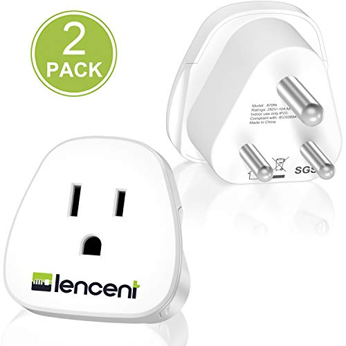 India Power Adapter, US to India Travel Adapter Plug by LENCENT, for USA to India, Pakistan, Nepal, Niger, Bangladesh, Maldives, Sri Lanka, Lebanon, Myanmar and More -Safe Grounded Type D