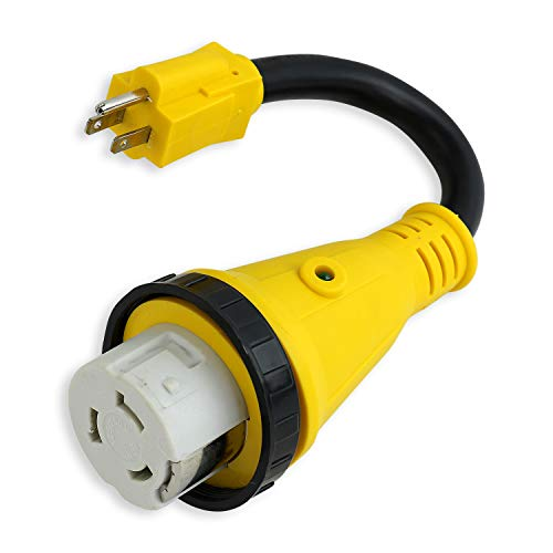 Leisure Cords Trailer dogbone power cord plug adapter 15 amp male to 50 amp female locking connector with LED Indicator (15 Male - 50 Female Twist)