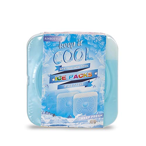 RINBOTTLE Ice Packs for Lunch Box Slim Reusable Freezer Dry Ice Pack for Coolers Keep Cold and Fresh for Outdoor Camping Picnic and Parties
