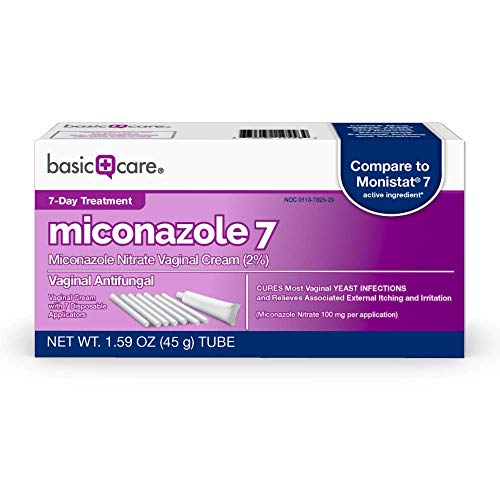 Amazon Basic Care Miconazole 7, Miconazole Nitrate Vaginal Cream (2%), Vaginal Antifungal, 7-Day Treatment