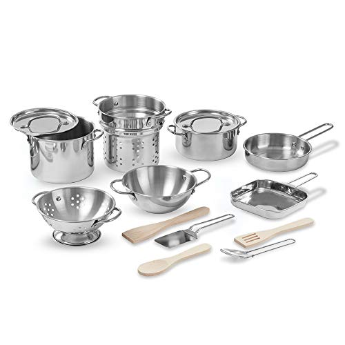 Melissa & Doug Deluxe Stainless Steel Pots and Pans Play Set