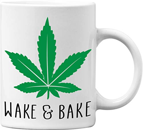 Wake And Bake Funny White 11 Oz. Weed Marijuana Coffee Mug - Great Novelty Gift for Cannabis and Weed Smokers by Mad Ink Fashions