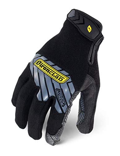 Ironclad Command Grip Work Gloves; Touch Screen Gloves Conductive Palm & Fingers, Extreme Grip, Durable, Performance Fit, Machine Washable, Black, Large - IEX-MGG-04-L
