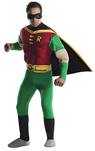 DC Comics Deluxe Muscle Chest Robin Adult Costume, Medium