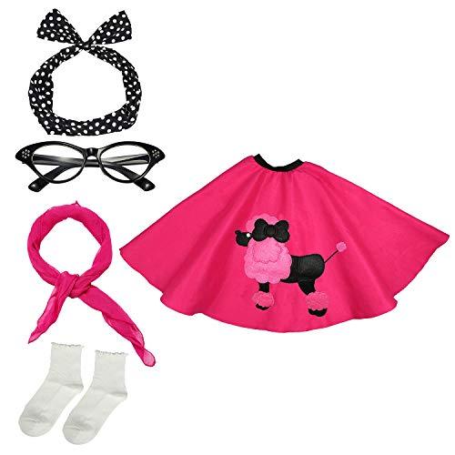 50s Womens Costume Accessory Set - Poodle Skirt, Bandana Tie Headband,Chiffon Scarf, Cat Eye Glasses,Bobby Socks,Hot Pink