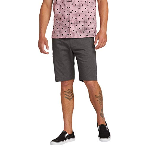 Volcom Men's Stretch Modern Fit Chino Short, Charcoal Heather, 34
