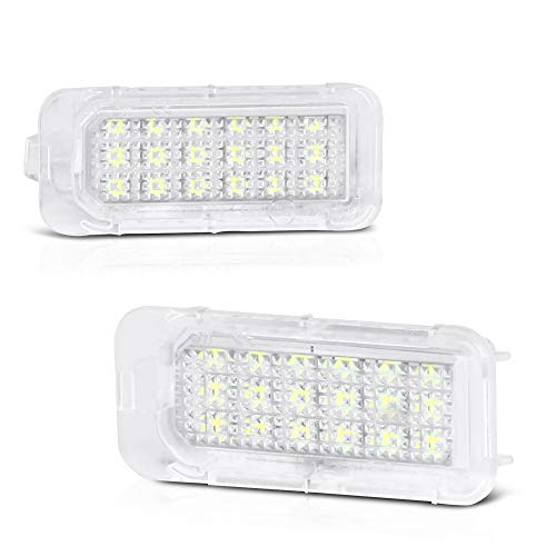 VIPMOTOZ Full LED License Plate Light Tag Lamp Assembly Replacement Pair For Ford Explorer Expedition Fiesta Escape Fusion Lincoln MKC - 6000K Diamond White, 2-Piece Set