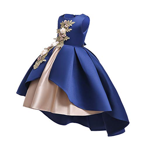 Fairy Cute Party Pageant Prom Vintage Flower Girl Dress Teens Girls Knee Length Sleeveless Wedding Bridal Ball Gown Formal Christmas Day Dress Size 4 5 Years (Navy Blue 120)