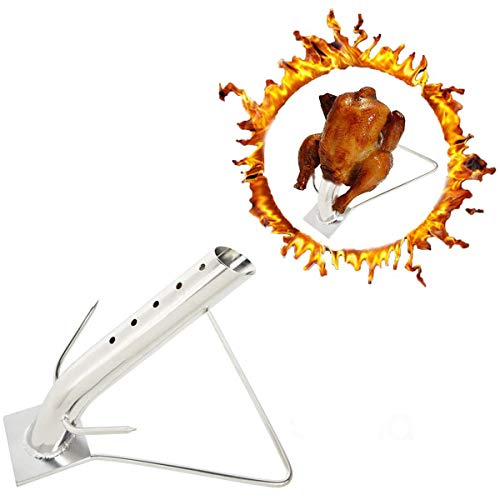 Skyflame Stainless Steel Turkey Infusion Roaster Stand for Roasting and Grilling Poultry - Chicken Roasting Rack for BBQ Grill Oven