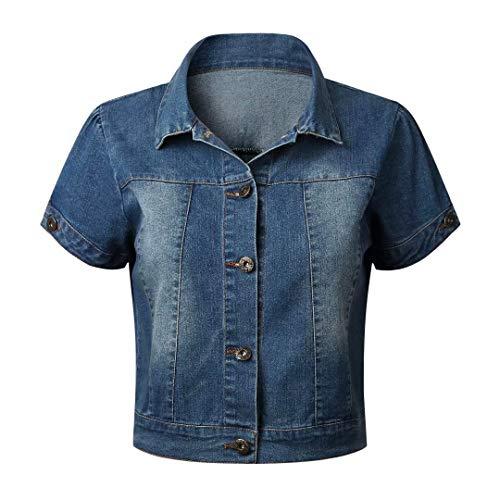 Only Faith Women Short Sleeve Shawl Neck Denim Jacket Button Up Jean Short Coat, Blue, Large
