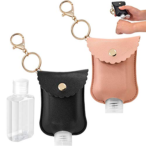 Blizzow Travel Portable Squeeze Bottle 60ml/2oz Refillable Bottle with Leather Keychain, 2pcs Transparent Empty Mini Plastic Bottle Container for Hand Sanitizer, Essential Oil, Toiletries (Black+Pink)
