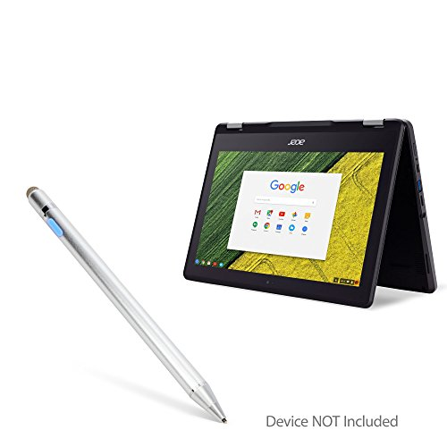 Acer Chromebook Spin 11 (R751T) Stylus Pen, BoxWave [AccuPoint Active Stylus] Electronic Stylus with Ultra Fine Tip for Acer Chromebook Spin 11 (R751T) - Metallic Silver