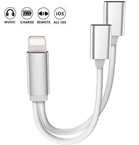 2 in 1 Dual Lighting Headphone Audio and Charge Adapter,Lighting Converter Headphone Adapter, Compatible with iPhone 11 Pro Max/X/XS/XR/ 7/8 Plus.(Support iOS 12, iOS 13 Silver)