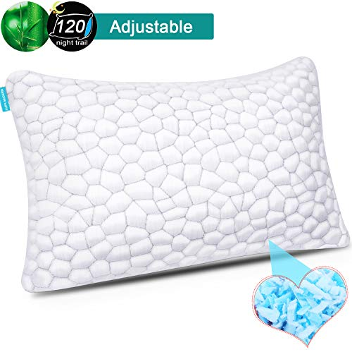 Cooling Bed Pillows for Sleeping, Shredded Memory Foam Pillow for Neck Pain Relief, Adjustable Sleeping Pillow for Back/Side Sleepers, Hypoallergenic Bamboo Pillow with Washable Cover-support & Fluffy