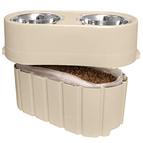 Store-N-Feed Adjustable Raised Dog Bowl, Dog Feeder & Dog Food Storage Containers (Dog Food Container, Unique Dog Water Bowl Dispenser & Dog Food Bowl) Dog Bowl Stand that Adjusts from 8' to 12'