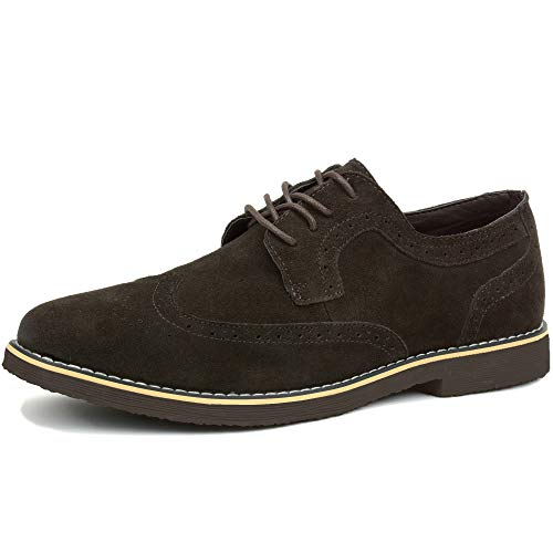 Alpine Swiss Beau Mens Dress Shoes Genuine Suede Wing Tip Oxfords Brown 10 M US
