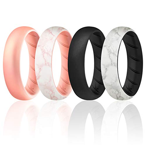 ROQ Silicone Rings for Women, Breathable Silicone Rings, Sets of 4 Bands, Unique Silicone Wedding Ring for Women, Medical Grade Silicone Rubber Band - Black, Rose Gold, Marble Colors - Size 6