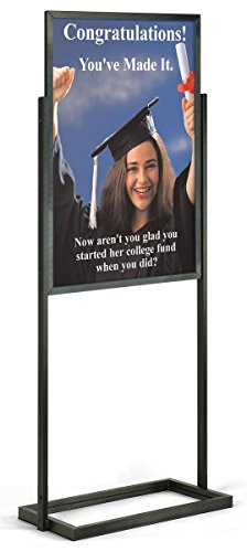 Double-Sided Poster Display Stand for 24 x 36 inch Graphics, Slide-in Design - Black