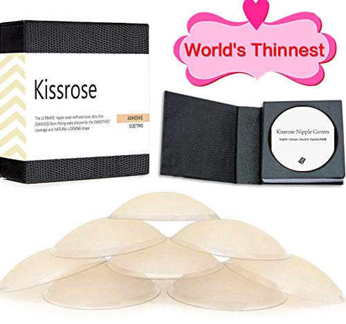 Nippleless Cover, Reusable Silicone Adhesive Pasties (World's Thinnest 0.2mm-4 Pairs, One Size)